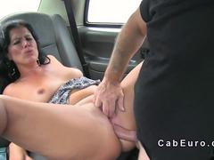 Hot passanger has anal sex in fake taxi