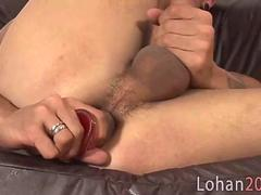 Horny twink sweetie dildo toys on his own