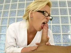 Honey Winter tugging on a beefy cock