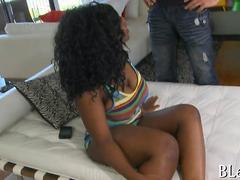 Delicious ebony babe gets groped and fucked by white guy
