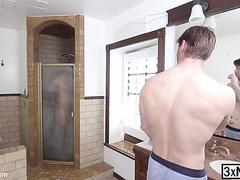 Pornstar Scotty Zee is hired to fucked Dennis West in a bathroom