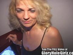 Wild big tittied mature Janine blows strangers in the gloryhole