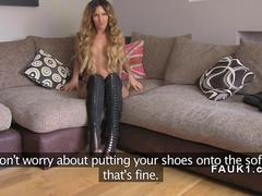 Busty blonde in boots fucks in casting