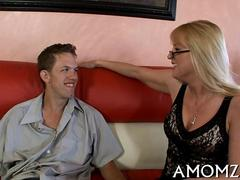 Blonde with glasses and big tits fucked by a milf hunter