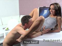 Female agent teasing dude with big cock in casting