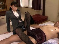 Petite classy lust in pantyhose needs to please her horny boss