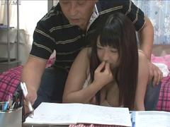 Asian teen does her homework as the dude wants her