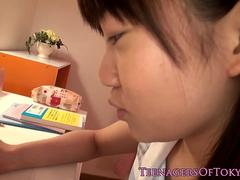 Japanese schoolgirl fingered before blowjob