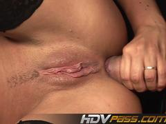 Brunette Larissa Dee Gett Fucked Anal with two Guy Double penetration