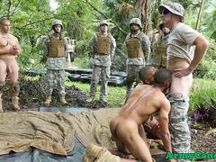 Ebony army hunks sucking white cock outdoor