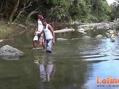 Latin twink studs get horny splashing in the river