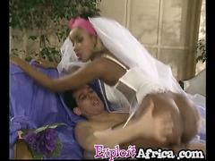 Mail order bride from Africa testing black pussy with white dick husband