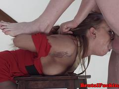 Deepthroated stepsister gets hardfucked