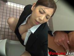 A horny voyeur put a camera in toilet and watches hot Asian girls taking a piss