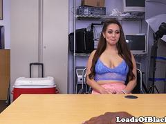 Busty babe deepthroats BBC during sexaudition