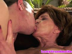 Cock hungry granny is tempted to swallow that huge cock and then get nailed hard by this handsome fellow