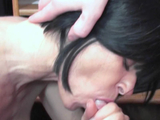 Busty housewife Melissa Swallows is blowing a geek
