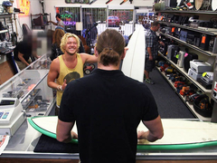 Hot straight sporty dude tries anal gay  in the shop for some cash