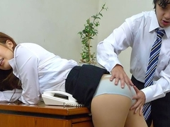 Asian office girl getting toyed by her man