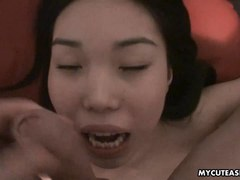 Tiny Asian cuttie getting her wet pussy plowed