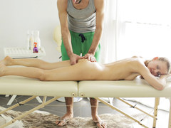 Petite european babe Nika enjoys oily massage and deep sex